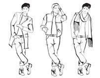 Fashion men. Sketch. Handsome stylish man showcasing street fashion Royalty Free Stock Photography