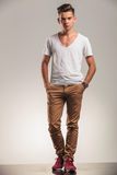 Fashion men standing on studio backgroung Stock Images
