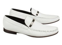 Fashion mens shoes on white Royalty Free Stock Photo