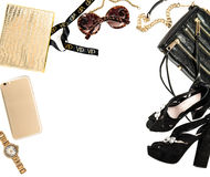 Fashion mock up with business lady accessories. Feminine shoppin Stock Photo