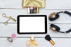 Fashion mockup with business lady accessories and electronic dev Royalty Free Stock Photos