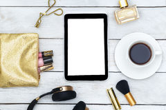 Fashion mockup with business lady accessories and electronic devices. Flat lay stock image