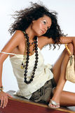 Fashion model. Beautiful young woman in tredny outfit Stock Photography