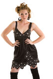Fashion Model. Young Fasion Model in black silk dress Royalty Free Stock Photos