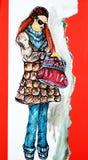 Fashion model. Hand-drawn fashion girl model Royalty Free Stock Image