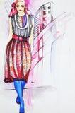 Fashion model. Hand-drawn fashion girl model Royalty Free Stock Photo