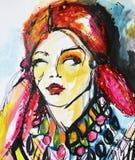 Fashion model. Watercolor model girl Royalty Free Stock Photo