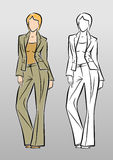 Fashion Model. Vector image of a fashion model in trouser suit. Hand-drawing/sketchy style Stock Image