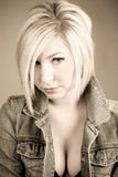 Fashion model. Sepia toned image of an attractive blonde Stock Photography