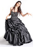 Fashion model. Female model in high key wearing long princess dress Stock Photo