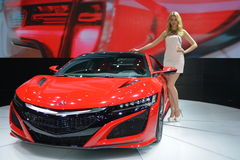 A Fashion Model on ACURA NSX sportscar Stock Images