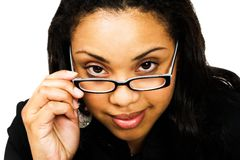 Fashion model adjusting eyeglasses Stock Photography