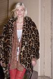 Fashion model Aline Weber Street Style wearing animal print coat during Fashion Week Stock Photography