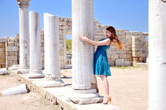 Fashion model in the ancient town Stock Photography