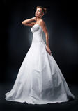 Fashion model attractive bride standing in wedding stock photography