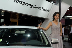 Fashion Model on Audi A4L Stock Photo