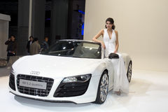 Fashion Model on Audi R8 car Stock Photos