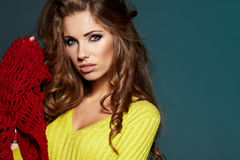 Fashion model in autumn clothes Royalty Free Stock Photography