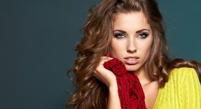 Fashion model in autumn clothes Royalty Free Stock Photo