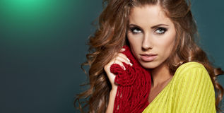 Fashion model in autumn clothes Stock Images