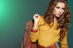 Fashion model in autumn clothes Stock Image