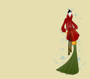 Fashion model in in autumn clothes sketch card Royalty Free Stock Images