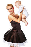 Fashion model with a baby. Fashion model with baby boy stock photos