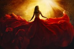 Free Fashion Model Back Side In Red Flying Dress, Woman Rear View Stock Image - 120857871