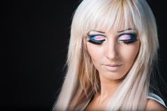 Fashion model with barbie  doll make-up Royalty Free Stock Photos