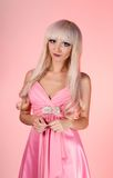 Fashion model  with barbie doll make-up Royalty Free Stock Photo