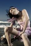 Fashion model on the beach Royalty Free Stock Photos