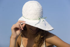 Fashion model on the beach Stock Image