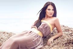 Fashion model at the beach Royalty Free Stock Photo