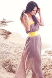 Fashion model at the beach Royalty Free Stock Photos