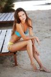 Fashion model beach series Stock Image