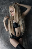 Fashion model in beautiful black lingerie Stock Images