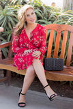 Fashion Model. A beautiful classy lady in a red dress at the park sitting on a bench stock photography