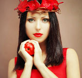 Fashion model - beautiful female face Stock Photo