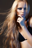 Fashion model, beautiful long shiny hair & make-up Stock Photos