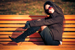 Fashion model on the bench Stock Photos