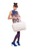 Fashion model with big bag Royalty Free Stock Image