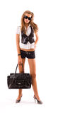 Fashion model with big bag. Isolated on white background Stock Image
