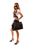 Fashion model with big bag. Royalty Free Stock Photography