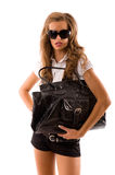 Fashion model with big bag. Royalty Free Stock Photos
