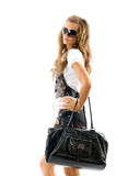 Fashion model with big bag. Isolated on white background Stock Photos