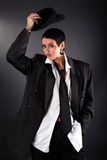 Fashion model in big man shirt and coat Royalty Free Stock Photos