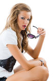 Fashion model with big sun glasses. Stock Images