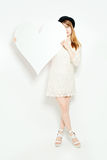 Fashion Model with Big White Heart Stock Images