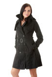 Fashion model in black coat Stock Photo