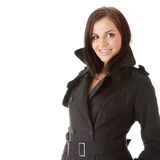 Fashion model in black coat Royalty Free Stock Photography